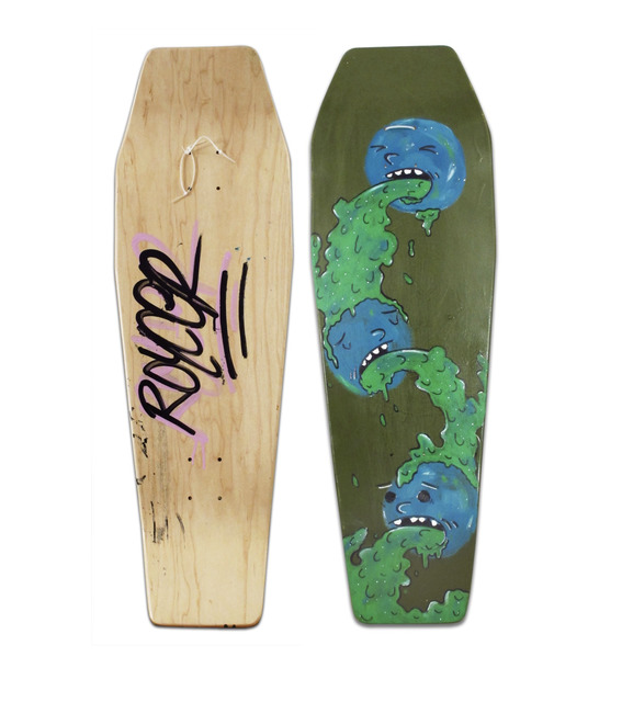 Royce Bannon, 'Untitled (Monsters)', 2013, Painting, Spray enamel and acrylic on hand crafted wooden skate deck, Woodward Gallery