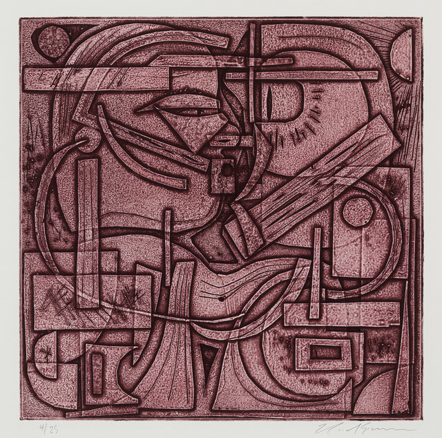 Nicole Eisenman, 'Machine Learning Kiss', 2020, Print, Collagraph, Artists For a New Georgia Benefit Auction