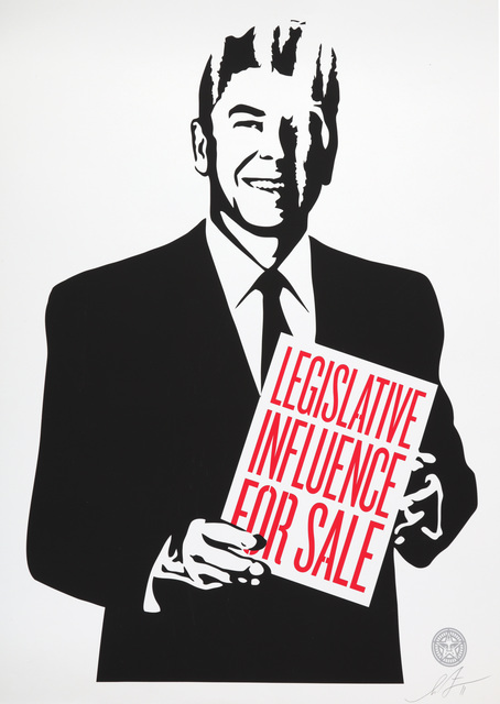 Shepard Fairey, 'Corporate Violence For Sale, Its Mourning In America, Top-Elite Factions For Sale & Legislative Influence For Sale', 2011, Chiswick Auctions