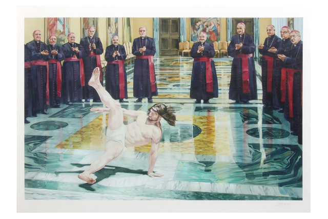 Cosmo Sarson, 'Breakdancing Jesus - Vatican', 2004, Print, Screenprint on paper, Chiswick Auctions