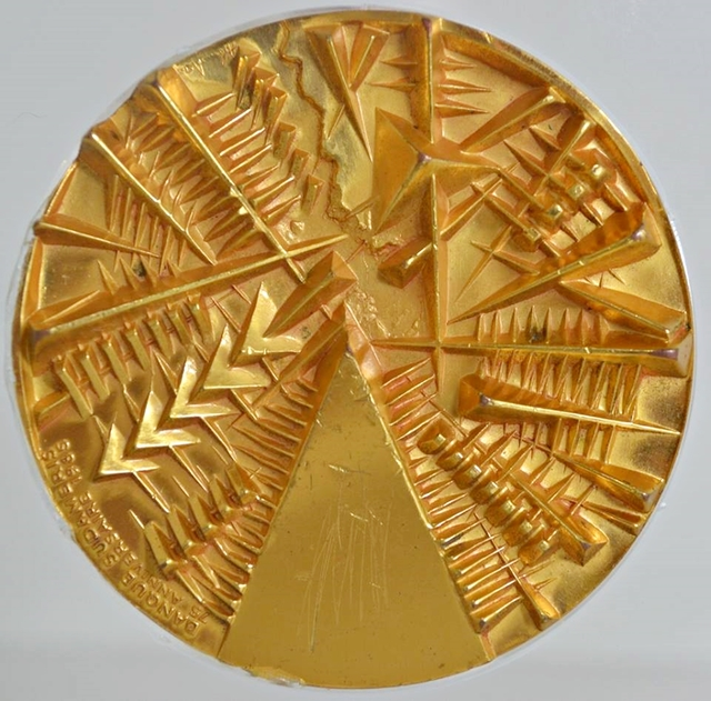 Arnaldo Pomodoro, 'TWO SIDED GOLD PLATED MEDALLION', 1985, Alpha 137 Gallery