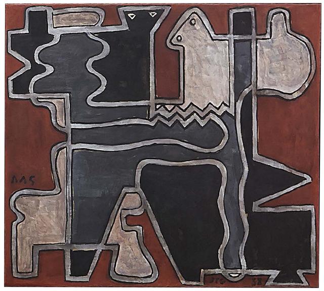 , 'Formas entrelazadas en fondo rojo,' 1938, Cecilia de Torres Ltd.