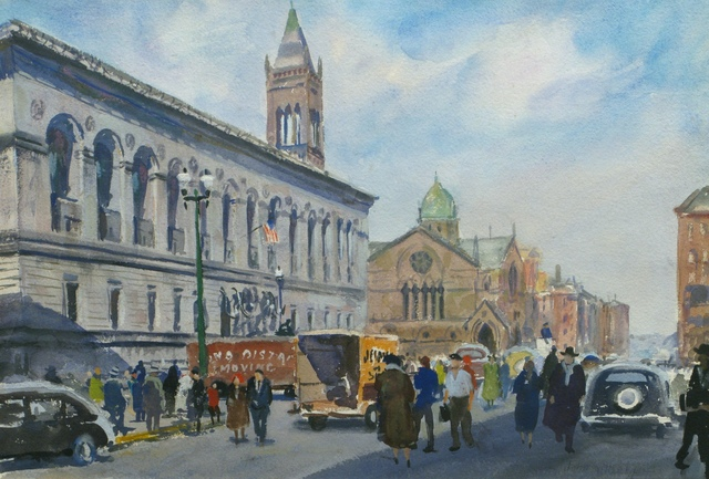 John Whorf, 'Boston Public Library and Dartmouth Street, Boston, Massachusetts', Vose Galleries
