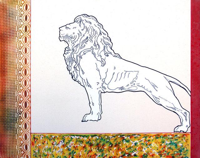 Renato Mambor, 'Animal slides - Leone in piedi', 2004, Mixed Media, Oil and enamel on raw canvas, Ambrosiana Casa d'Aste