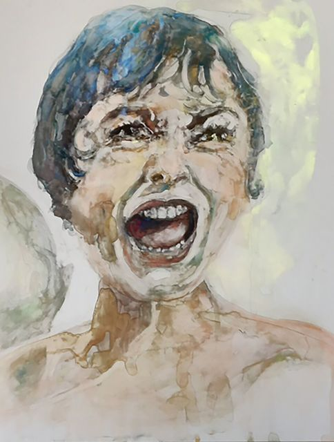 ", '""I never take a shower. I cannot take a shower...It never dawned on me until that moment how vulnerable and defenseless one is."" -- Janet Leigh,' 2017, Ro2 Art"
