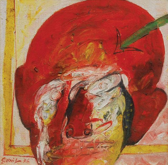 ", 'Head I, Mixed Media on Board by Padma Shree Artist Sunil Das ""In Stock"",' 1986, Gallery Kolkata"
