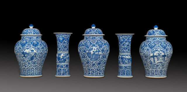 , 'Blue and white Chinese porcelain five piece garniture decorated with European subject in underglaze blue,' 1662-1722, Luis Alegria