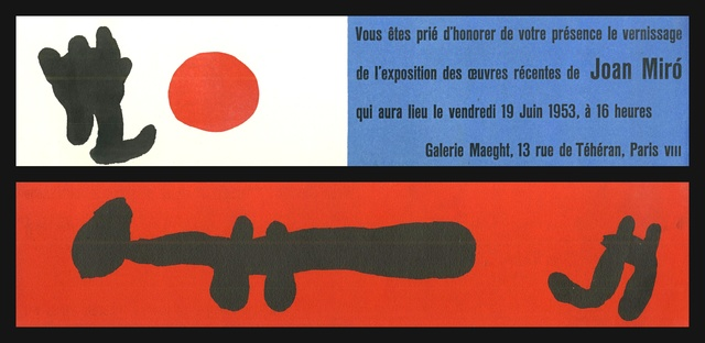 Joan Miró, 'Extremely rare 2-sided lithographic announcement to Galerie Maeght vernissage', 1953, Alpha 137 Gallery