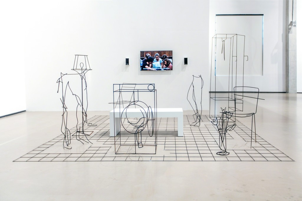 "Installation view of Neil Beloufa at ""The Heart is a Lonely Hunter,"" YARAT Contemporary Art Centre, Baku, Azerbaijan, 25 September 2015 – 9 January 2016."
