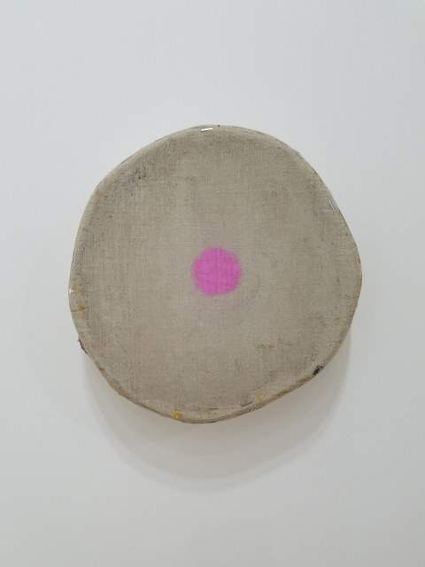 , 'Grey with one magenta circle,' 2018, Marc Straus