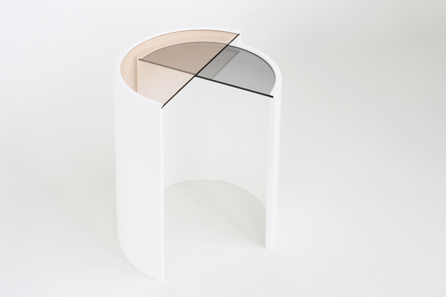 Bower, 'Contour Side Tables', 2015, Design/Decorative Art, Molded wood base, tinted glass tops, Manfredi Style