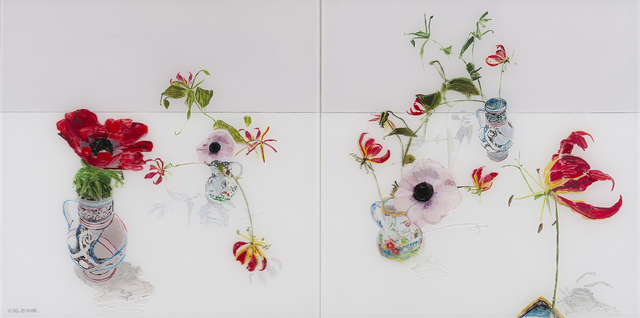 Gail Norfleet, 'Anemones and Butterfly Orchids', 2018, Painting, Acrylic and litho pencil on Lucite, Valley House Gallery & Sculpture Garden