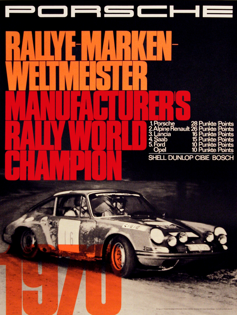 , 'Porsche Manufacturers Rally World Champion 1970 - Automobile,' 1970, Omnibus Gallery