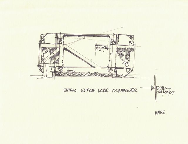 Syd Mead, 'Concept Sketch for Aliens Game, Basic Space Load Container', 2007, Edward Cella Art and Architecture