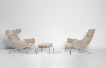 Two 'Ox' lounge armchairs, model nos. AP-46 and AP-47, and footstool, model no. AP-49
