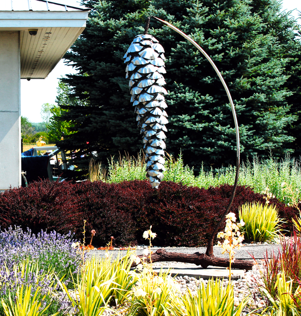 Floyd Elzinga, 'Suspended Pine Cone - large, nature inspired, stainless steel outdoor sculpture', 2020, Sculpture, Stainless steel, steel, metal, stone, Oeno Gallery