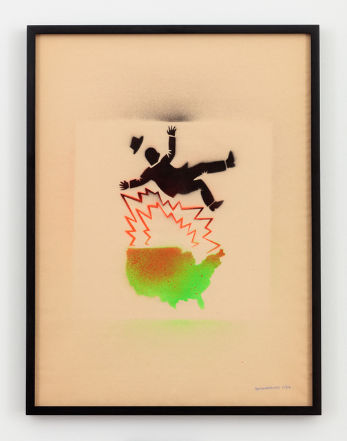 , 'Untitled (Falling Man and Map of USA),' 1982, P.P.O.W