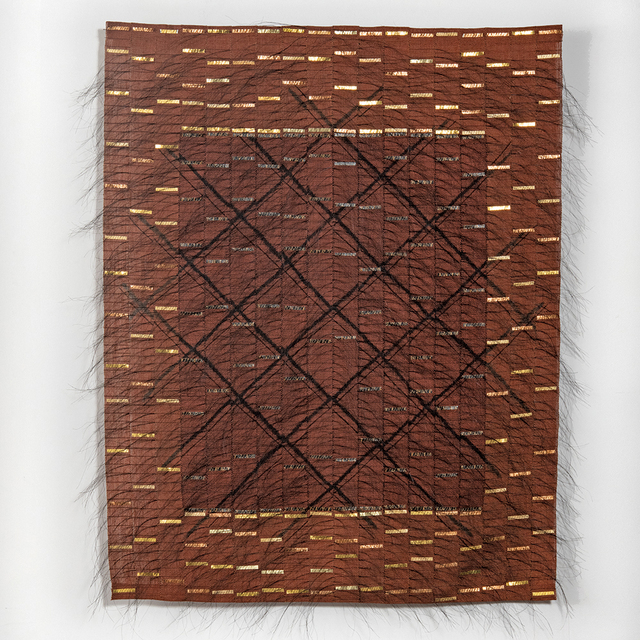 Adela Akers, 'The Grid', 2008, Textile Arts, Linen, horsehair, paint, metal foil, browngrotta arts