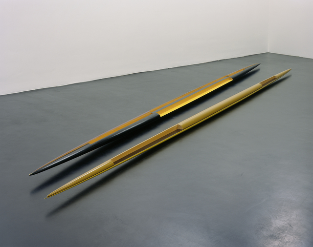 "Isa Genzken, 'Rot-gelb-schwarzes Doppelellipsoid 'Zwilling' (Red-Yellow-Black Double Ellipsoid ""Twin"")', 1982, Mixed Media, Lacquered wood, MCA Chicago"