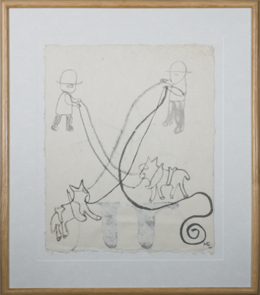 , 'Plow Horses 2nd Ink Drawing on reverse,' 1991, David Barnett Gallery