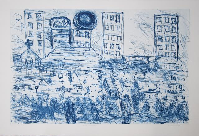 David Koloane, 'Blue Cityscape', 2008, Print, Carborundum and Drypoint, David Krut Projects
