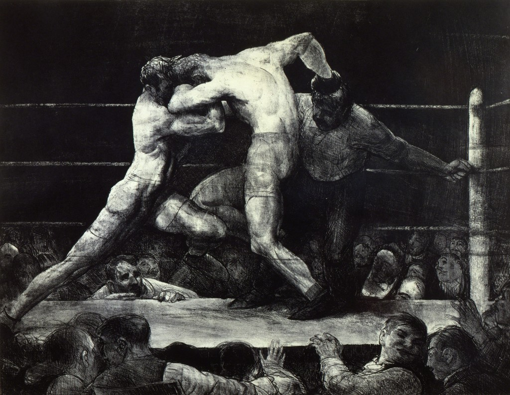 George Bellows, A Stag at Sharkey's, 1917. Lithograph. Private collection