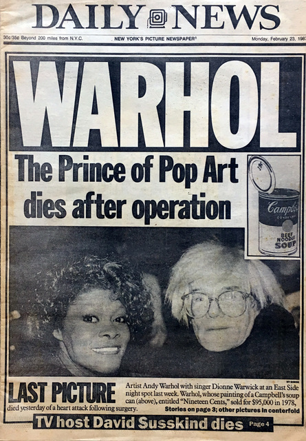 "Andy Warhol, '""Andy Warhol, 1928-1987: Pop Art's King Dies""', 1987, Lot 180"