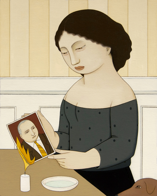 , 'Woman Burning a Photo,' 2018, Adelson Galleries