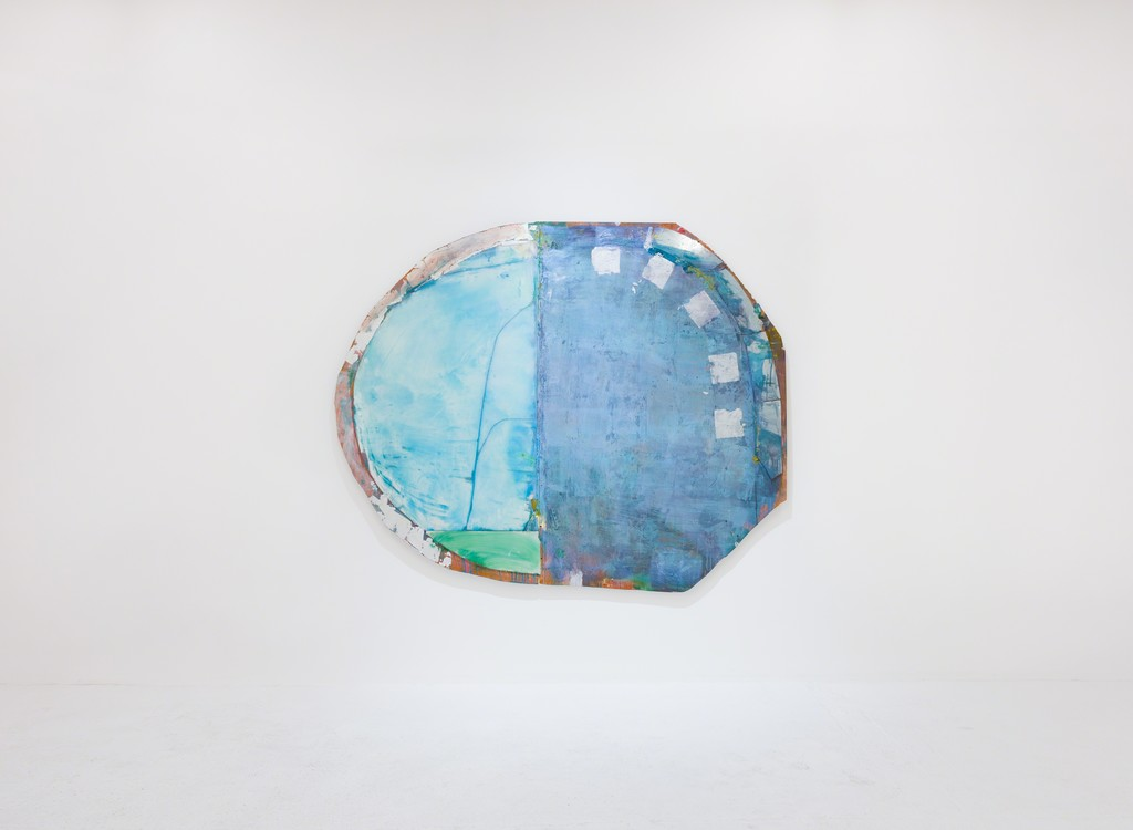 Daniel John Gadd, 'Breach', 2016, oil, mirrored glass, aluminum leaf and wax on wooden panel, 88 x 73 inches