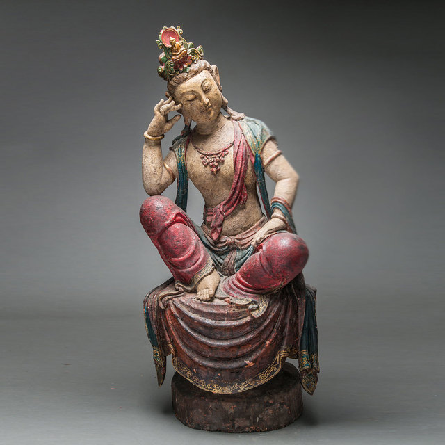 , 'Ming Wooden Polychromed Bodhisattva,' 1368 AD to 1644 AD, Barakat Gallery