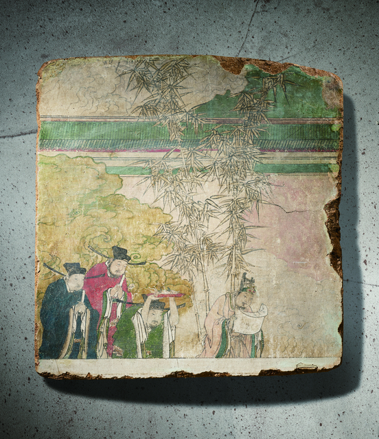 Unknown Artist, 'A Polychrome Fresco Fragment of Rectangular Form Painted with Four Officials 元晚期|明早期14|15世紀 灰泥彩繪仕人圖壁畫殘部', China: late Yuan|early Ming Dynasty-14|15th century, Rasti Chinese Art