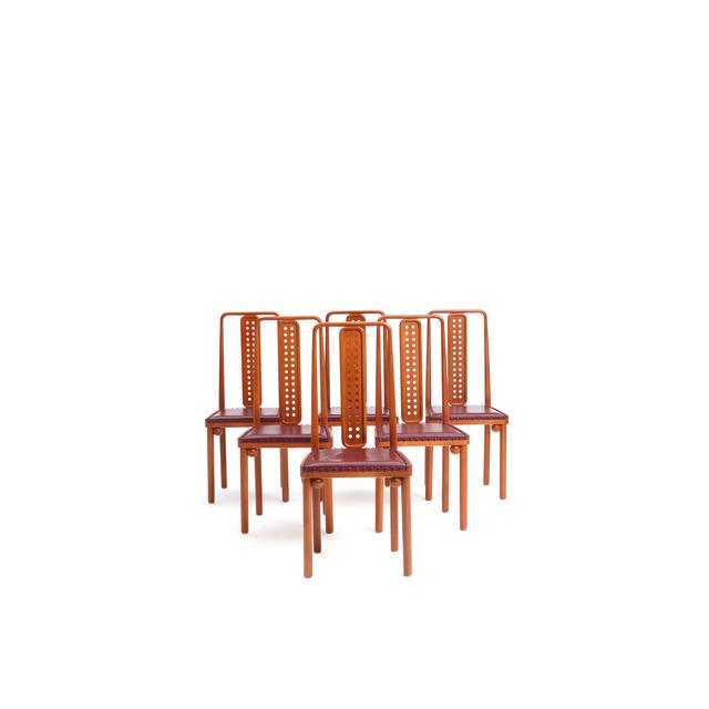 Josef Hoffmann, 'Set of six chairs', circa 1905, Design/Decorative Art, Hêtre et cuir, PIASA