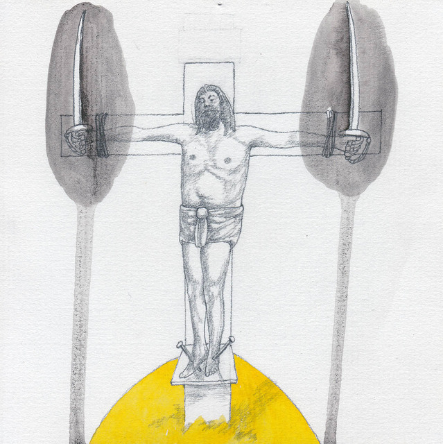 ", 'Drawing #55 from the cycle of 150 drawings ""Crucifixion for the Fisherman"",' 1991-1992, SARIEV Contemporary"