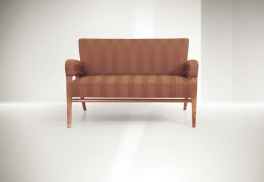 a sofa with a wooden structure and fabric upholstery