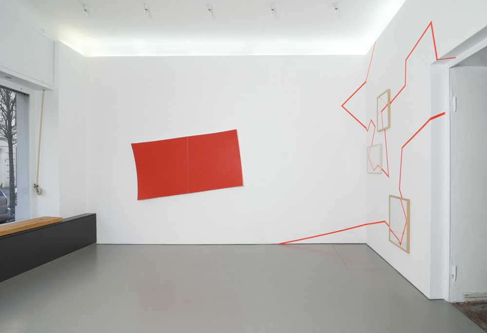 Installation shot with his painting 'Untitled (#619) and his tape work; photo: Jürgen Baumann