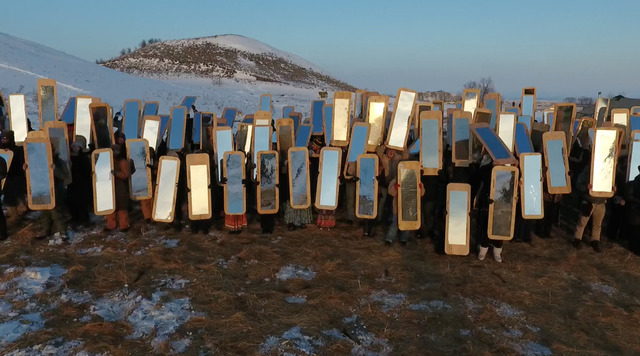 , 'Mirror Shields for Standing Rock, N.D.,' 2016, Cantor Fitzgerald Gallery, Haverford College