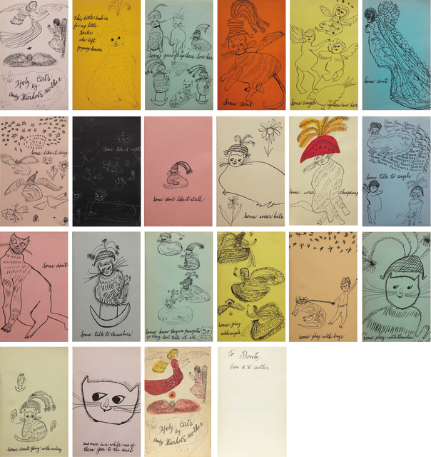 Andy Warhol, 'Holy Cats by Andy Warhol's Mother', 1954, Drawing, Collage or other Work on Paper, Artist's book comprised of 20 offset lithographs (one with hand-coloring), on colored wove paper, bound (as issued), with original paper-covered hardcover with offset lithograph and hand-coloring on the front, Phillips