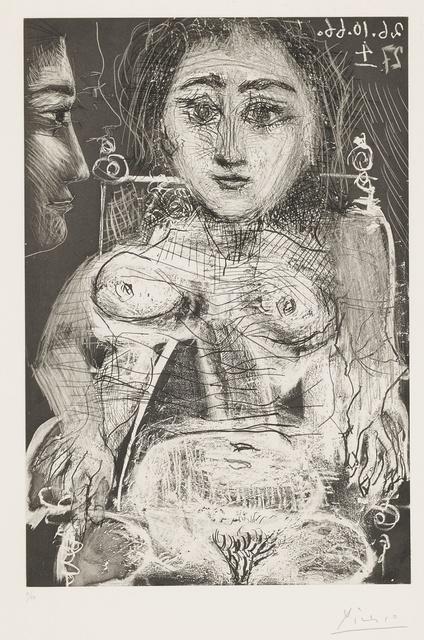 Pablo Picasso, 'Portrait de Jacqueline au Fauteuil (B. 1394; Ba. 1416)', 1966, Print, Aquatint, etching, engraving and drypoint, Sotheby's