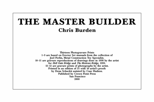 , 'The Master Builder,' 2000, Crown Point Press