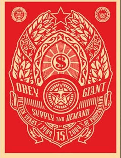 Shepard Fairey, 'supply and demand red', 2015, Rudolf Budja Gallery