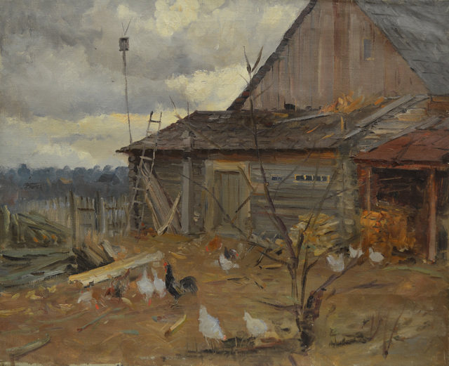 Aleksandr Nikiforovich Chervonenko, 'A backyard in the village', 1958, Surikov Foundation