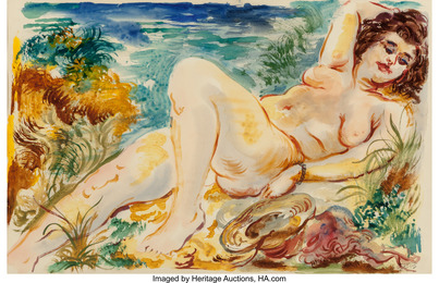 Reclining Nude with Sun Hat, Cape Cod