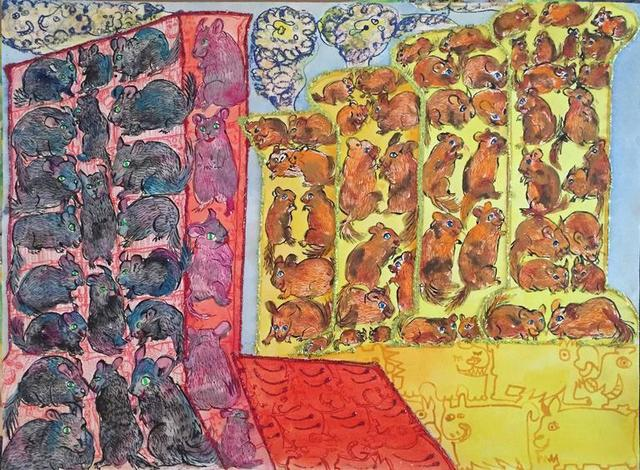 Maija Peeples-Bright, 'Outsider Art  Rats and Mice Pattern Painting', 20th Century, Lions Gallery
