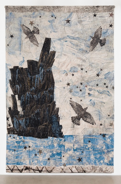 Kiki Smith, 'Harbor, (Ocean-rocks-birds)', 2015, Textile Arts, Cotton Jacquard tapestry, Timothy Taylor