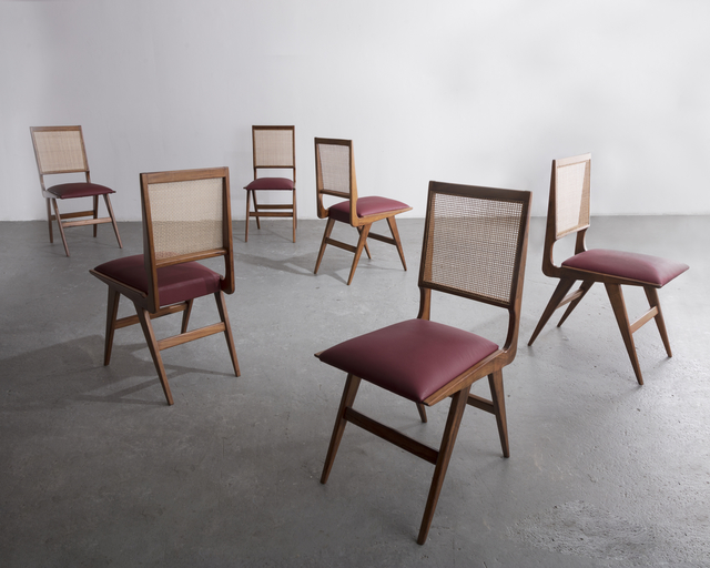 , 'Set of six (6) dining chairs in rosewood with cane back and upholstered seat,' ca. 1950, R & Company