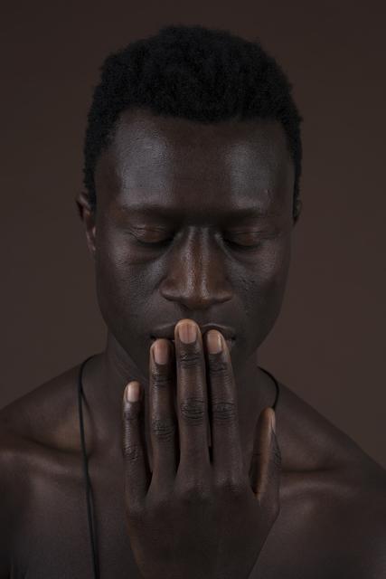 ", 'Corpo Fechado: Portrait of José Francisco Pedroso with his ""bolsa de mandiga"",' 2018, Galeria Filomena Soares"