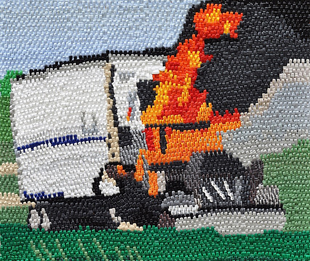 Caroline Larsen, 'Tractor Trailer Fire', 2012, Painting, Oil on canvas on board, Craig Krull Gallery