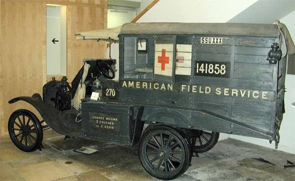 'Ambulance de l'American Field Service, Voiture Ford T', 1917, Musée franco-américain du château de Blérancourt