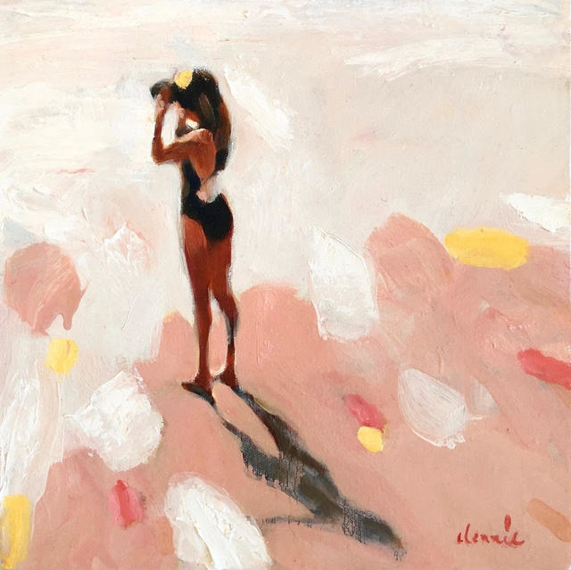 Elizabeth Lennie, '''Ocean View'' Abstract oil painting of women in black bathing suit and neutral pink background', 2019, Eisenhauer Gallery