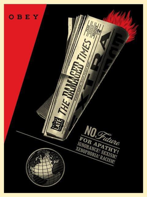 Shepard Fairey, 'DAMAGED TIMES', 2017, Bruce Lurie Gallery